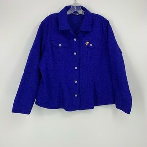 Chico's Blue Long Sleeve Button Down Shirt Size 16